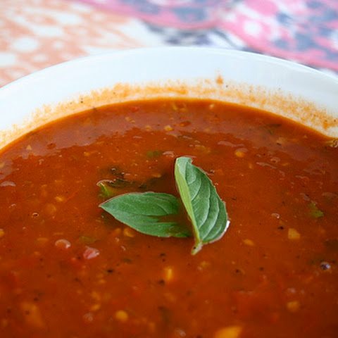 Roasted Tomato Soup with Garlic and Basil