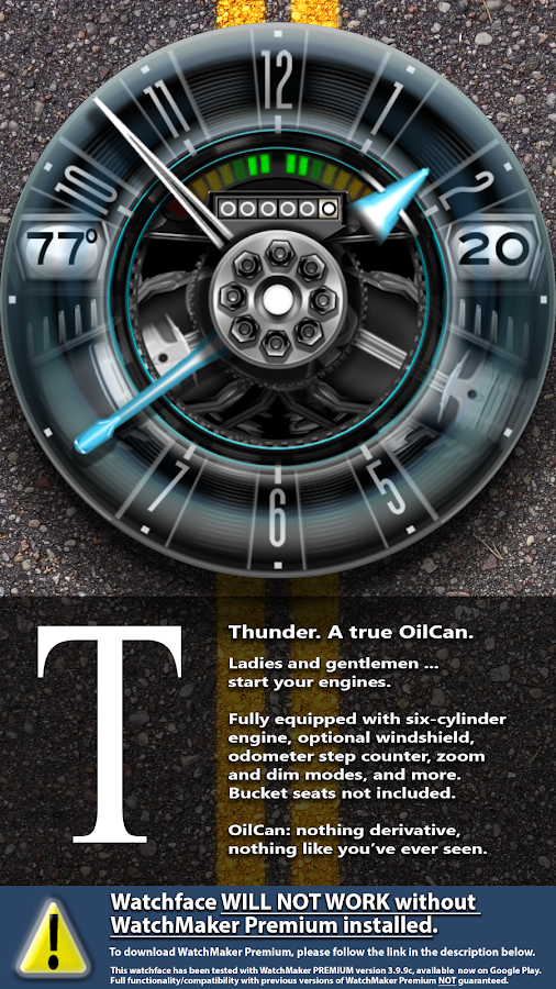 OilCanX2-Thunder watchface Screenshot 2