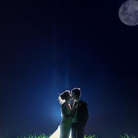 Moonlighting by Lodewyk W Goosen (LWG Photo) - Wedding Bride & Groom ( moon, wedding photography, wedding photographers, marriage photography, marriage, moonlight, love, married, wedding, weddings, wedding photographer, bride and groom, bride, groom )