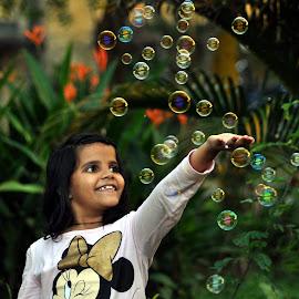 Playing with bubbles by Hosahalli Sundar - Babies & Children Children Candids