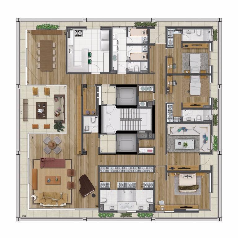 Planta Tipo Opção A - 430 m²