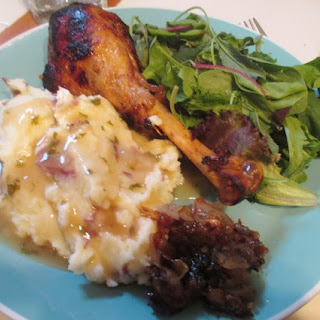 Caveman Drumsticks With Caramelized Onions