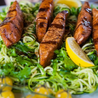 Earl Grey Pan Glazed Salmon with Lemon Courgetti