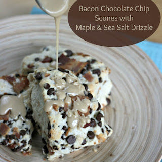 Bacon Chocolate Chip Scones with Maple and Sea Salt Drizzle