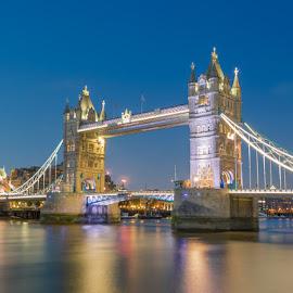 Tower Bridge by Nikolas Ananggadipa - City,  Street & Park  Night ( lights, england, uk, london, tower bridge, long exposure, night, bridge, river )