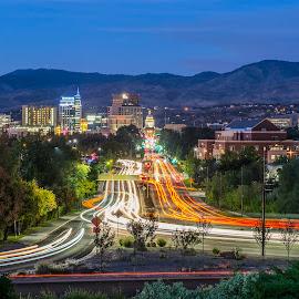 Boise, Idaho by Mike Shaw - City,  Street & Park  Vistas ( lights, idaho, building, skyline, boise, mountain, cars, city )