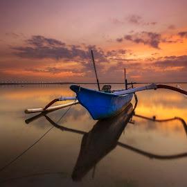 Morning by Choky Ochtavian Watulingas - Landscapes Sunsets & Sunrises ( clouds, reflection, seashore, waterscape, reflections, seascape, sunrise, boat, skies )
