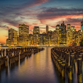 Pathway to the City by Wenjie Qiao - City,  Street & Park  Skylines ( brooklyn bridge, pier, manhattan, dumbo )