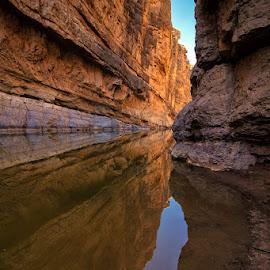 Santa Elena Solitude by Dan Howard - Landscapes Caves & Formations ( orange, rio grande, national park, sandstone, big bend national park, landscape, river )