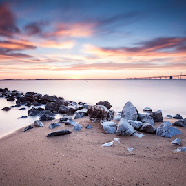 alakazam by Edward Kreis - Landscapes Beaches ( singhray filters, clouds, sand, waterscape, sandy point, colorful, daryl benson rgnd, chesapeake bay, jetty, neutral density, bay bridge, beach, landscape, big stopper, lee filters, maryland, long exposure, skidmore )