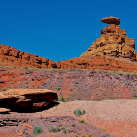 The Mexican Hat of Utah by Steven Love - Landscapes Mountains & Hills ( famous, landmark, red, utah, sandstone, rock, landscape, mexican hat rock, navajo indian reservation, formation )