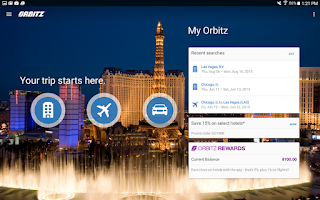 Screenshot of Orbitz - Flights, Hotels, Cars