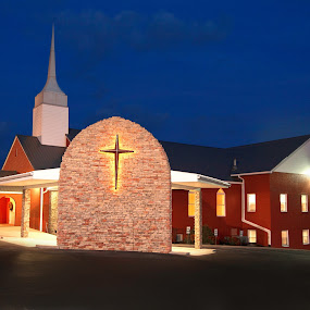 Jesus is our Light by Tiffany Lett - Buildings & Architecture Places of Worship ( church, night, cross,  )