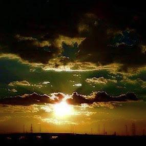 Bright sunset by Nat Bolfan-Stosic - Landscapes Sunsets & Sunrises ( sky, bright, sunset, sleepy, town )