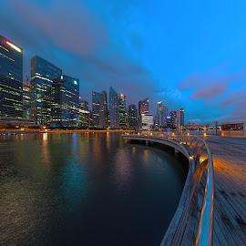 Shenton @ Blue Hour by Gordon Koh - City,  Street & Park  Skylines ( clouds, shenton way, skyline, cityscape, travel, singapore, city, blue hour riverfront, financial district, skyscraper, jubliee bridge, buildings, asia, long exposure, waterfront )