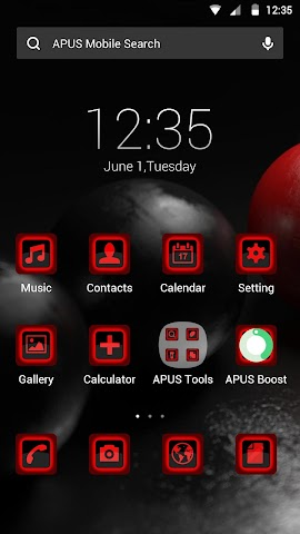 android Red and Black theme for APUS Screenshot 0