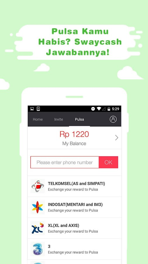 Swaycash - Pulsa Gratis Screenshot 3