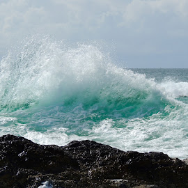 Waves by Di Mc - Novices Only Landscapes ( blue, waves, wave, ocean, aqua, rocks, energy )
