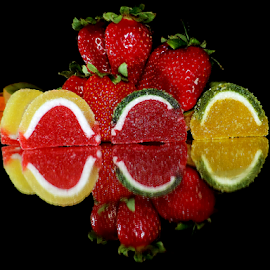 strawberry with the candys by LADOCKi Elvira - Food & Drink Fruits & Vegetables ( candys, fruits )