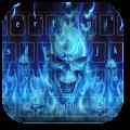 Fire Blue Skull Keyboard