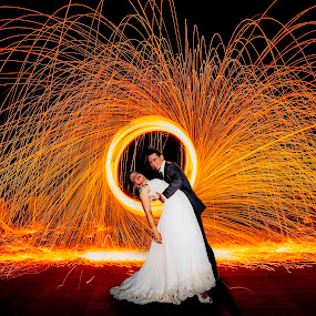 Ring of Fire by Luke Popwell - Wedding Bride & Groom ( wedding photography, vineyard, 2013, drinking, california, northern california, popwell, laura popwell, children, kyle mcbride, fun, kids, ceremony, fire, wedding, family, outdoors, off axis production, bride, groom, san francisco, winery )