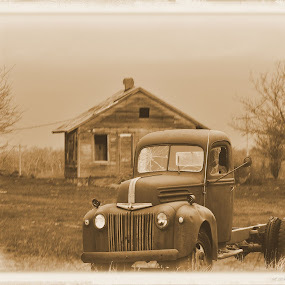 Old & Worn by Kristen O'Brian - Transportation Automobiles ( old, worn, truck, house, antique )