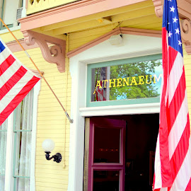 Athenaeum by Steve Hayes - Novices Only Objects & Still Life ( flag, victorian, hotel, chautauqua, entrance, chq )