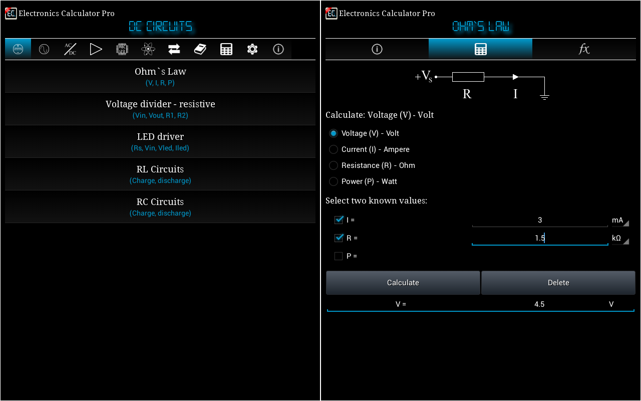 Electronics Calculator Pro Screenshot 8