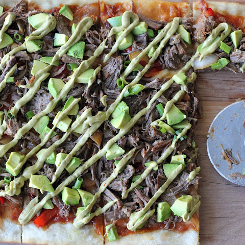 Carnitas Avocado Pizza with Chipotle Avocado Mayonnaise Drizzle