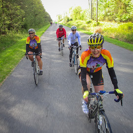 Cycling with Friends by Ed Shanahan - Sports & Fitness Fitness ( outdoor joy, biking, cycling with friends, cycling, fools in training, six pillars century )