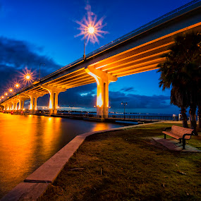 Park Bench by Causeway by Fran Gallogly - City,  Street & Park  City Parks ( clouds, reflection, bench, a1a, highway, park, twilight, architecture, yellow, roadway, lights, blue, pwcbenches, trees, night, bridge, causeway, river )