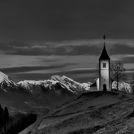 Church on Hill by Janez Podnar - Black & White Landscapes