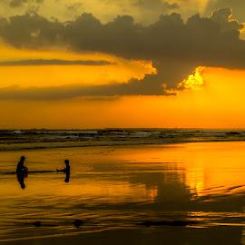 Enjoying Golden Sunset by Abdul Rahman - Landscapes Sunsets & Sunrises