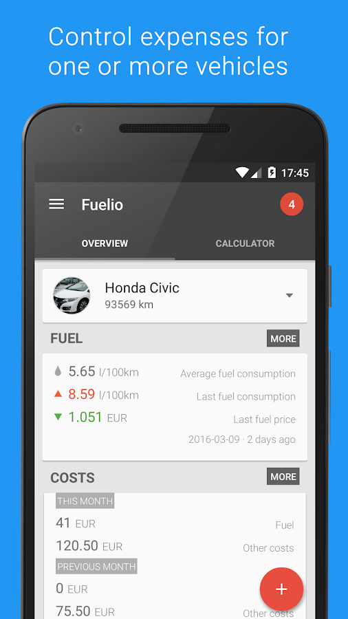 Fuelio: Gas log & costs Screenshot 1