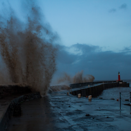 by Paul Scullion - Landscapes Weather ( water, wild, waves, harbour, lighthouse, sea, bristol channel, storm, england, somerset, nature, imagon, weather, marina, watchet )