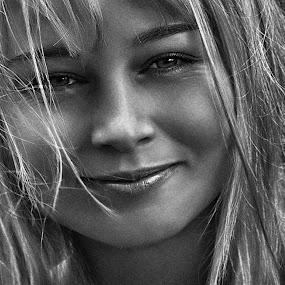 Irina by Sergey Kuznetsov - Black & White Portraits & People ( woman, beauty, young, model, blonde, girl )