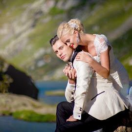 LoveTransfagarasan by Anamaria Roman - Wedding Bride & Groom ( red lips, romantic, white dress, lake, romania, romance, trash the dress, love, blonde, transfagarasan, nature, couple, bride and groom, bride )