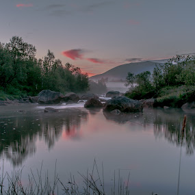 Sunset over river by Benny Høynes - Landscapes Waterscapes ( canon, water, bennyhøynes, sigma, sunset, norway )