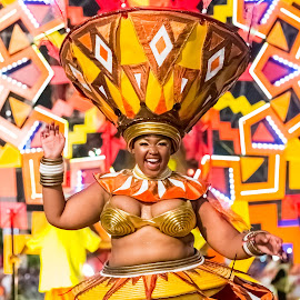Carnival Performer by Johan Nieuwoudt - People Street & Candids ( dancing, carnival, performer, yellow, cape town,  )