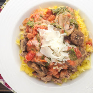 "Low Carb Creamy Tomato, Mushroom, and Spinach ""Pasta"""