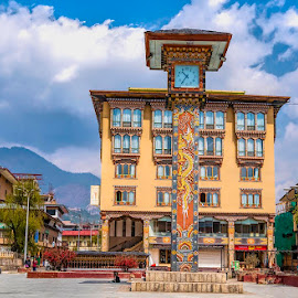 Thimpu Clock Tower Square by Pravine Chester - Buildings & Architecture Public & Historical ( places, historic building, clock tower, building, architecture )