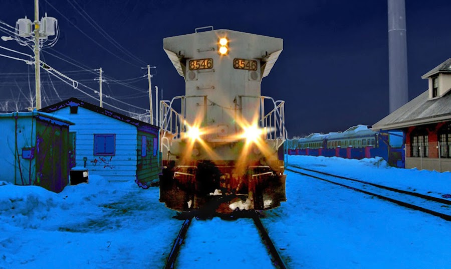 Train by Mario Hains - Transportation Trains ( rails, hdr, canada, train, sherbrooke, tracks )