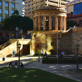SUNLIGHT SHINE by Linda Taylor - City,  Street & Park  City Parks ( anzac square, queensland, afternoon, brisbane, sun light, city )