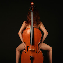 Background by Mario Horvat - Nudes & Boudoir Artistic Nude ( studio, black background, model, red hair, hands, legs, violoncello,  )