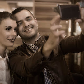 Selfie by Michal Ficel - People Couples ( selfie, woman, night, man, mobile )