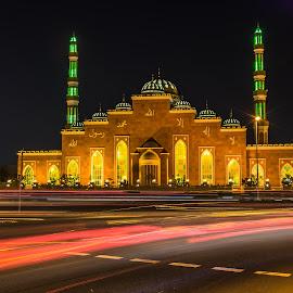 Mosque Al Salam Al Barsha by Shabbir Shani - Buildings & Architecture Places of Worship ( building, mosque, islamic culture, light trails, long exposure, architecture, iovedubai, islamic art )