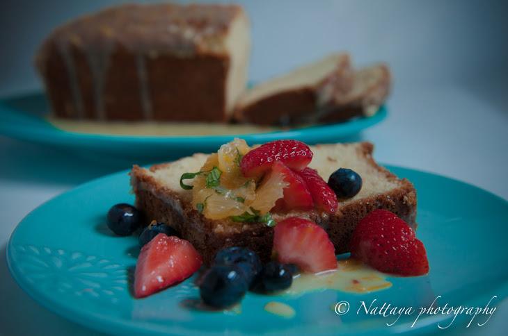 Orange yogurt pound cake with orange citrus-glazed with Spring fruit ...