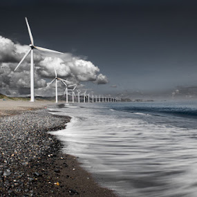 The Power of the wind by Eric Montalban - Landscapes Waterscapes ( clouds, sky, blue, waterscape, ocean, beachscape, philippines, windmill )