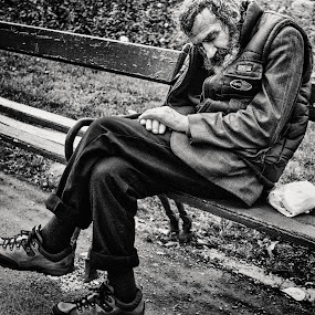 It's not enough by Alex Cruceru - People Street & Candids ( old, poor, beard, sleeping, alone, people, man )
