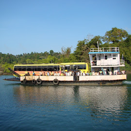 Small Ferry transporting buses by Rupesh Gupta - Transportation Boats ( andamanas, ferry, baratang,  )